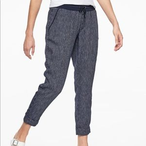 Athleta | Navy Blue Striped Bali Linen Ankle Pant